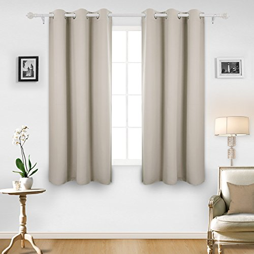 Deconovo Room Darkening Thermal Insulated Blackout Grommet Window Curtain Panel For Living Light Beige 42x63 Inch 1